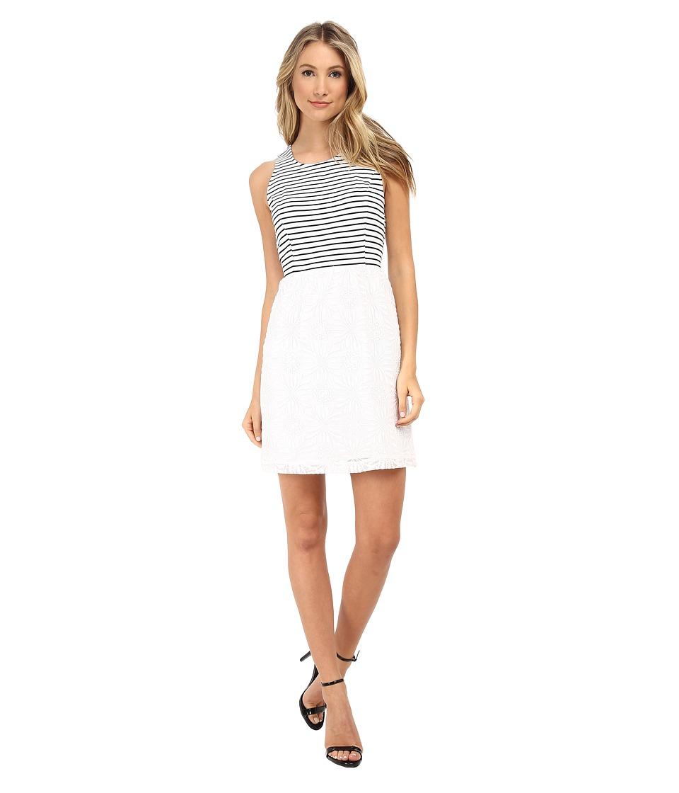 kensie Geo Lace Dress KS5K7494 (White Combo) Women