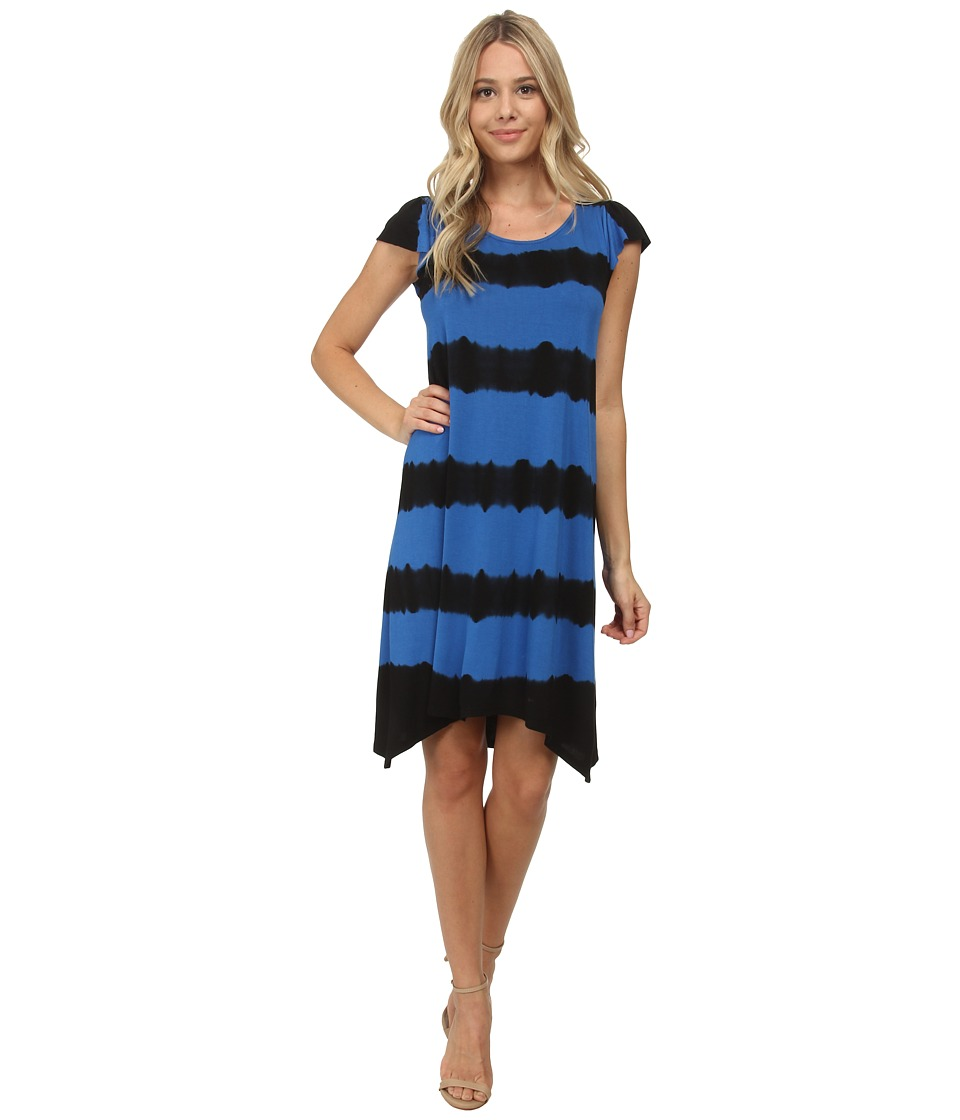kensie - Stripe Tie-Dye Dress KS6P7593 (True Blue Combo) Women