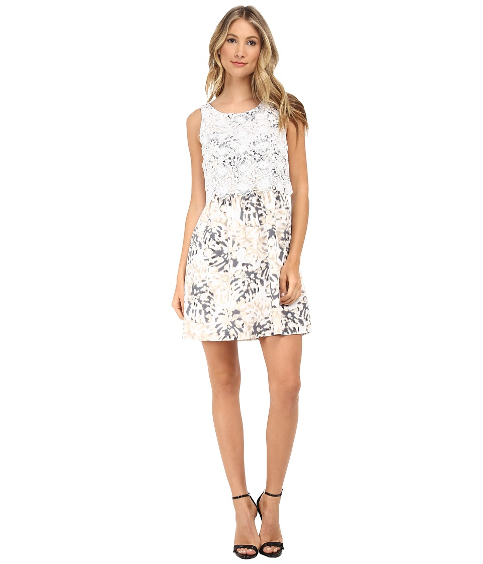 kensie - Palm Leaves Dress KS5K7499 (White Combo) Women's Dress