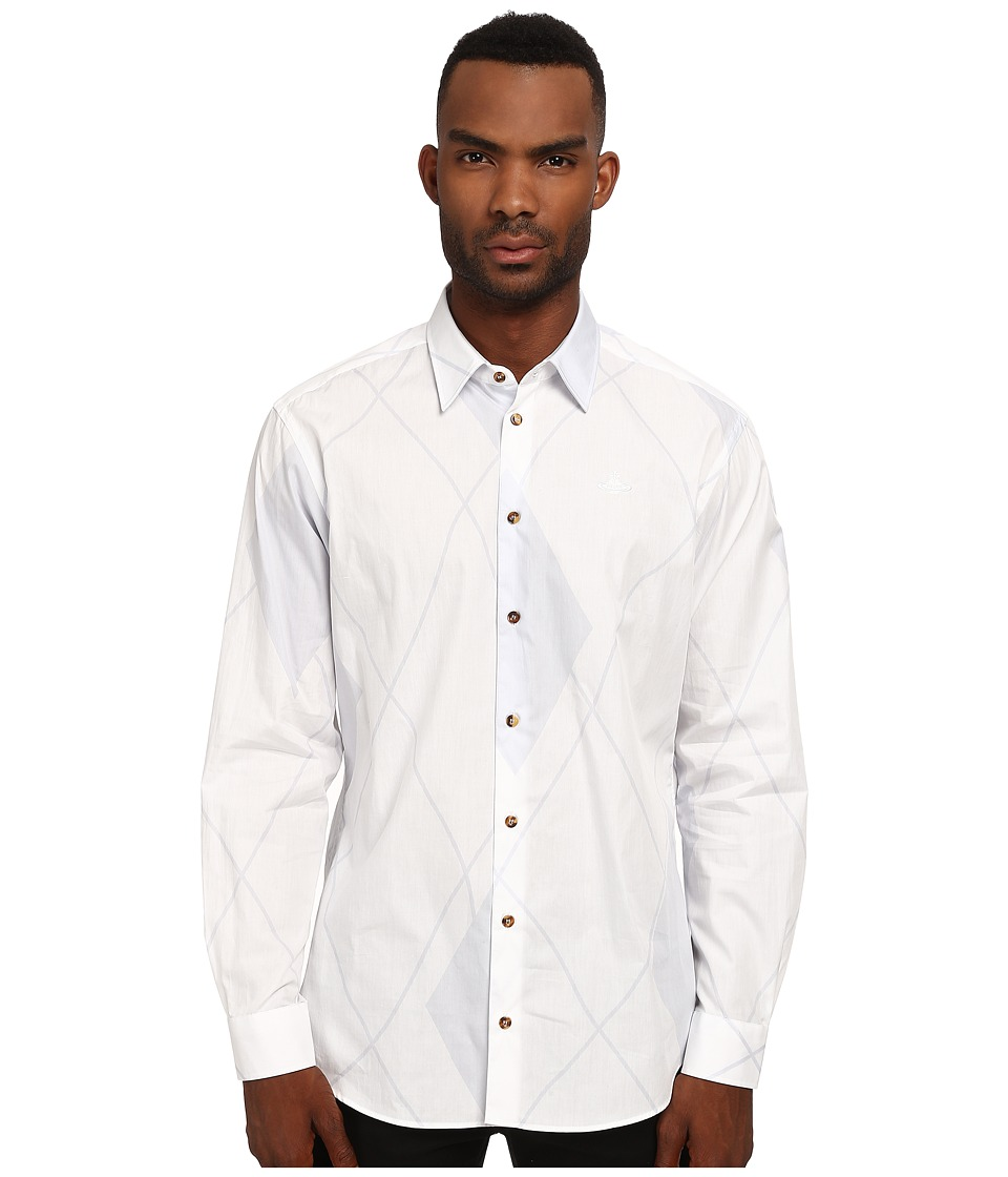 Vivienne Westwood MAN - Cut Away Stretch Printed Argyle Button Up (White/Grey) Men's Clothing