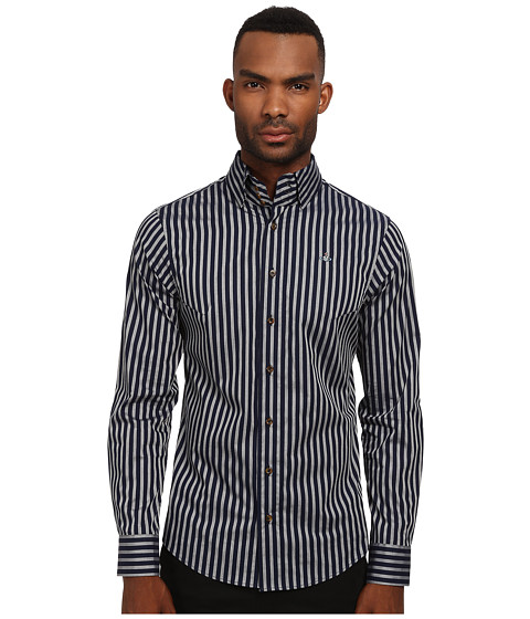 Vivienne Westwood MAN - Krall Stretch Candy Stripe Button Up (Blue/Grey) Men's Clothing