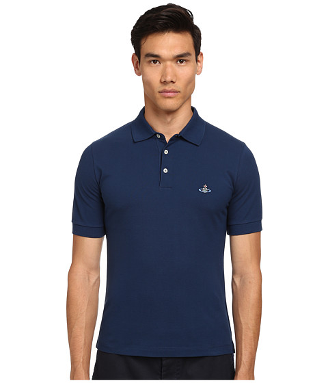 Vivienne Westwood MAN - Piquet Polo (Navy) Men's Short Sleeve Pullover