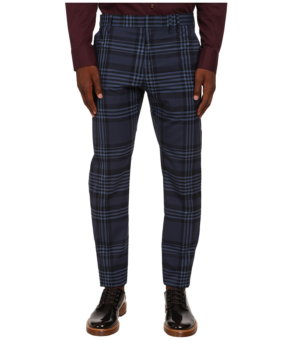 Vivienne Westwood MAN - Classic Gingham Tartan Trousers (Navy Tartan) Men's Casual Pants