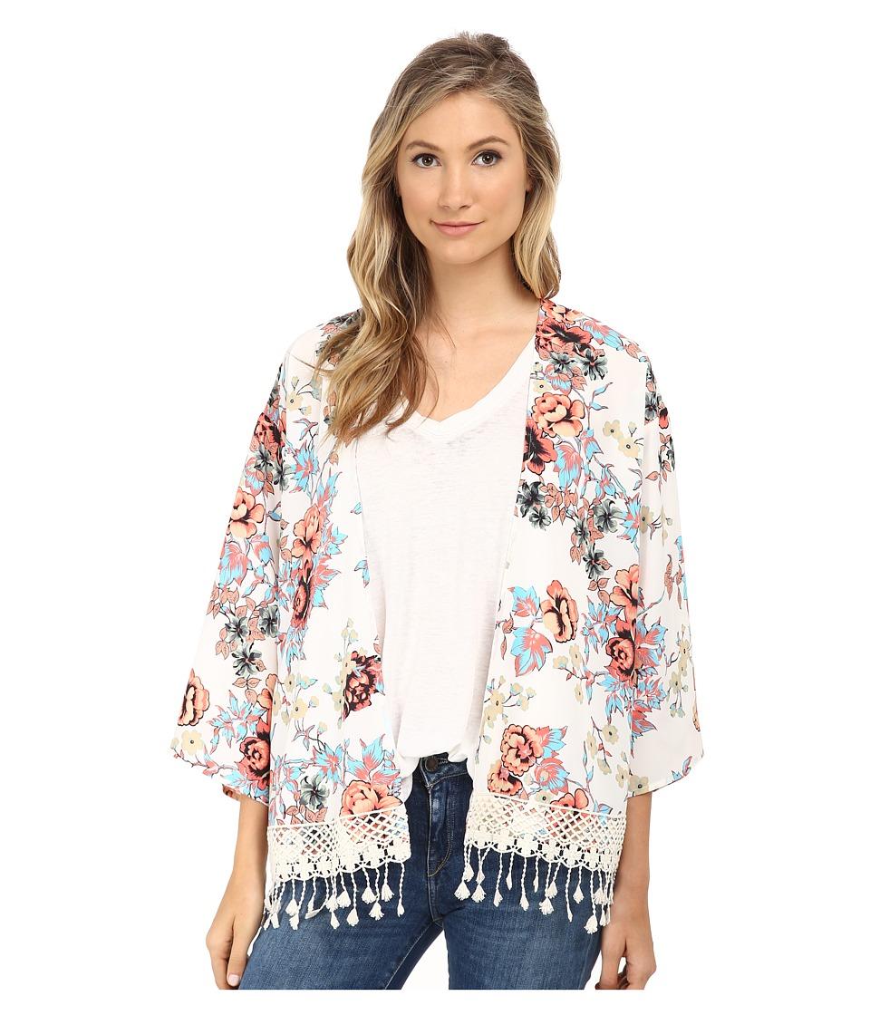 kensie - Japanese Garden Kimono KS5K2S05 (Vanilla Combo) Women's Blouse