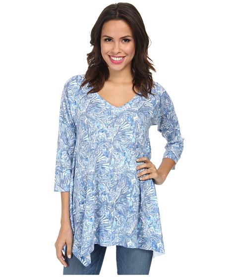 Nally & Millie - V-Neck Sharkbite Tunic (Blue Multi) Women's Long Sleeve Pullover