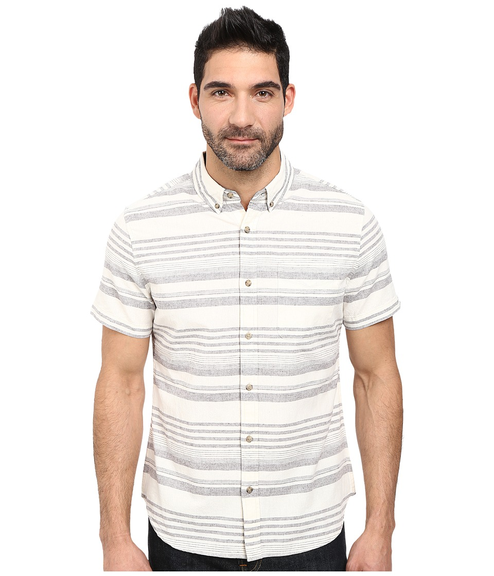 Image of AG Adriano Goldschmied - Aviator Short Sleeve Shirt (Charcoal Nat Stripe) Men's T Shirt