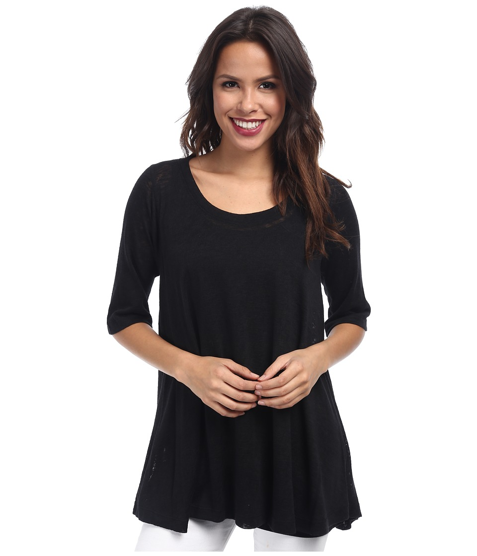 Nally & Millie - Two Piece Set Half Sleeve Tunic w/ Tank (Black) Women's Short Sleeve Pullover