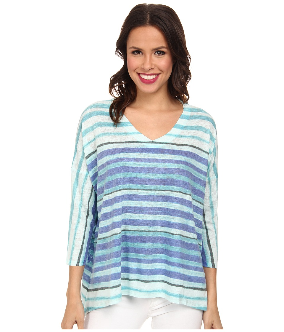 Nally & Millie - V-Neck Stripe Top (Blue Multi) Women's Clothing