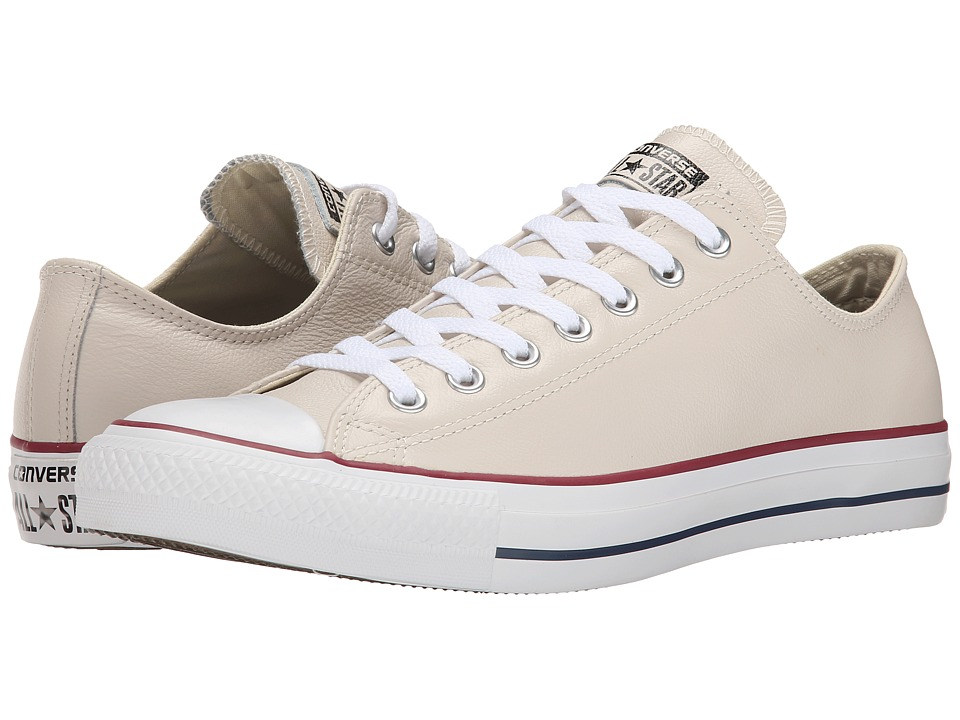 Converse - Chuck Taylor All Star Seasonal Leather Ox (Parchment/Navy/White) Lace up casual Shoes