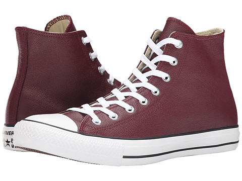 Converse - Chuck Taylor All Star Seasonal Leather Hi (Deep Bordeaux/Black/White) Lace up casual Shoes