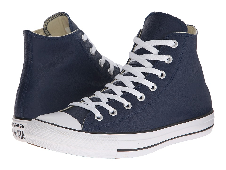 Converse - Chuck Taylor All Star Seasonal Leather Hi (Nighttime Navy/Black/White) Lace up casual Shoes