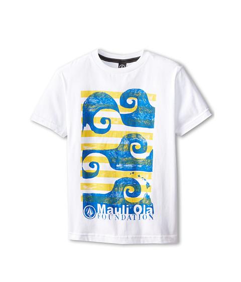 Volcom Kids - Mauli Ola Foundation Short Sleeve Tee (Big Kids) (White) Boy's T Shirt
