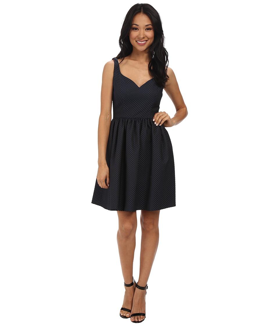 JILL JILL STUART Clara Candy ButtonJacquard Dress (Black/Bluestone) Women