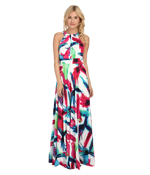 Eliza J - Halter Maxi with Inset Waist (Print) Women's Dress
