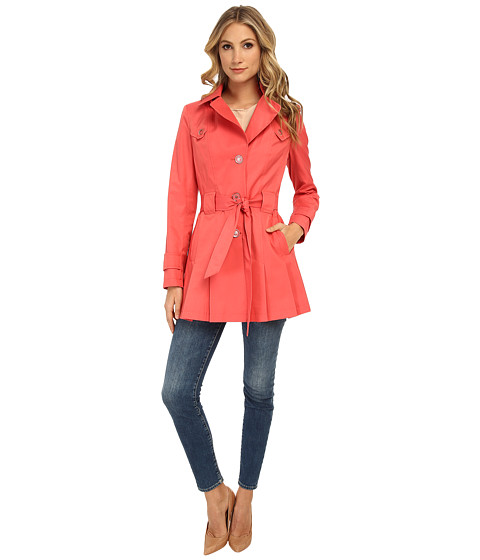 Via Spiga - Single-Breasted Scarpa with Hood (Coral) Women's Coat