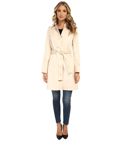 Via Spiga - Single-Breasted Satin Trench with Belt (Nude) Women