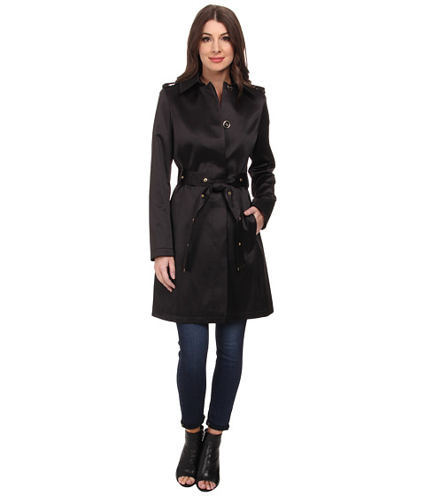 Via Spiga - Single-Breasted Satin Trench with Belt (Black) Women