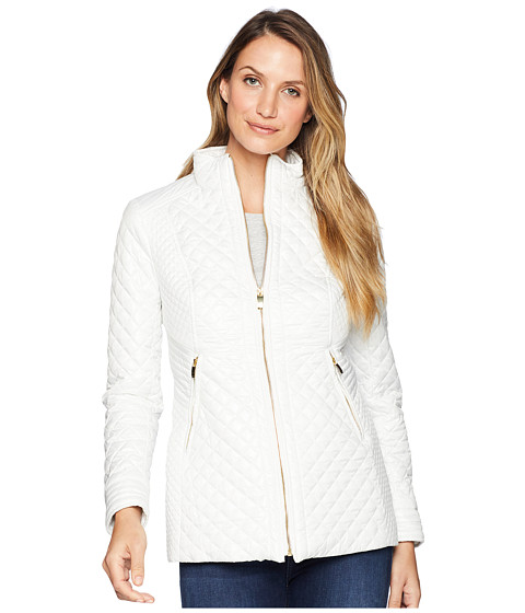 Via Spiga - Quilt with Stand Collar and Front Zip (White) Women