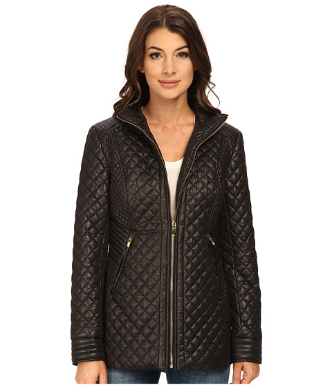Via Spiga - Quilt with Stand Collar and Front Zip (Black) Women