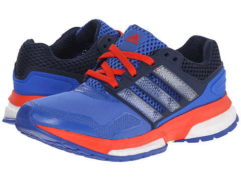 adidas Kids - Response Boost Techfit J (Big Kid) (Blue/Footwear White/Bold Orange) Boys Shoes