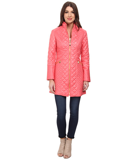 Via Spiga - Quilted Walker with Stand Collar and Front Zip (Coral) Women