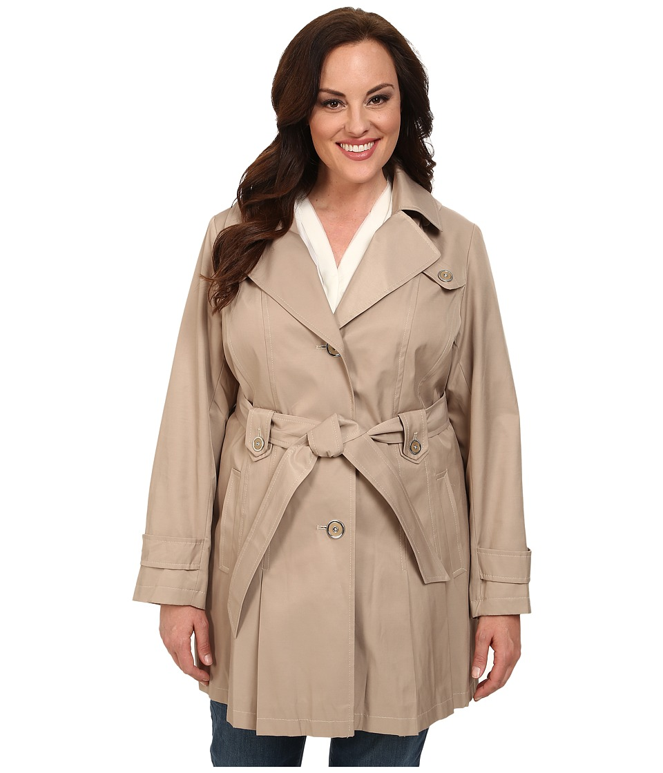 Via Spiga - Plus Size Single-Breasted Hooded Trench (Sand) Women's Coat