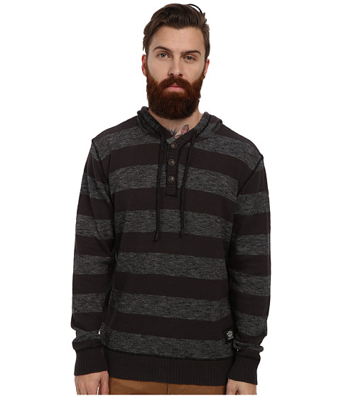 PROJEK RAW - Sweater Henley w/ Hood Slub Yarn (Mix Charcoal) Men