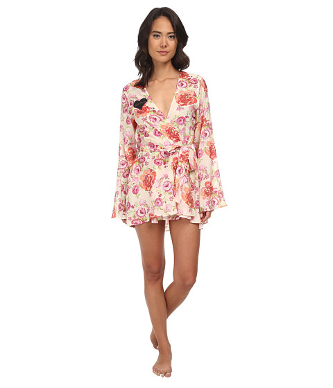 For Love and Lemons - Talk Dirty Robe (Pink Floral) Women's Robe