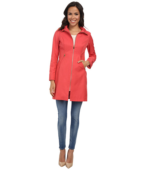 Via Spiga - Stand Collar with Novelty Stitched Sides (Coral) Women's Coat