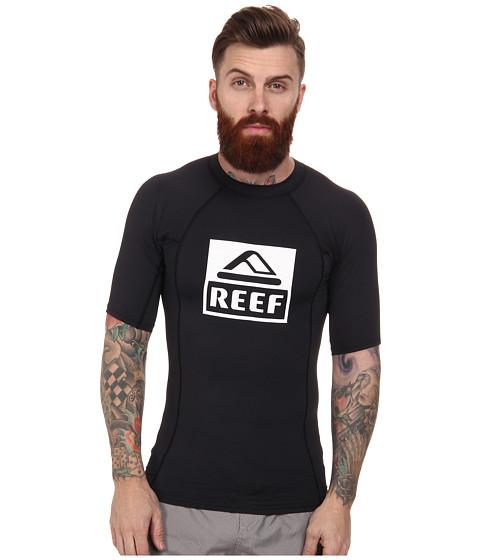 Reef - Logo Rashguard 4 (Black) Men's Swimwear