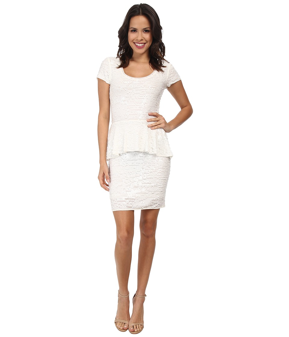 BCBGMAXAZRIA - Elora Knit Evening Dress (White Combo) Women