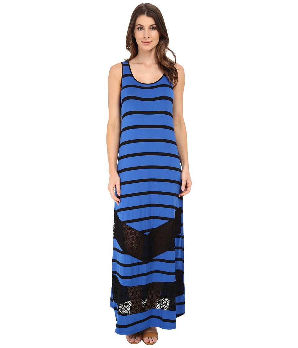 kensie - Light Weight Viscose Spandex Maxi Dress KS6K7592 (True Blue Combo) Women's Dress