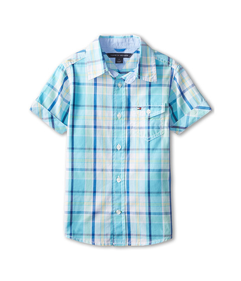 Tommy Hilfiger Kids - Short Sleeve Bright Poplin Plaid Shirt (Toddler/Little Kids) (Serenity Blue) Boy's Short Sleeve Button Up