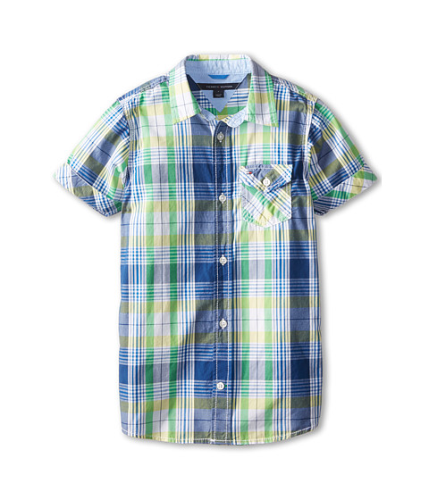 Tommy Hilfiger Kids - Short Sleeve John Plaid Shirt with Oxford Trim (Toddler/Little Kids) (Royal) Boy's Short Sleeve Button Up