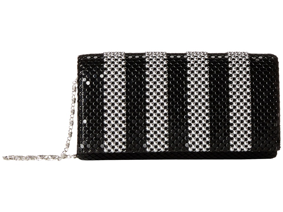 Jessica McClintock - Stripe Mesh Clutch (Silver/Black) Clutch Handbags