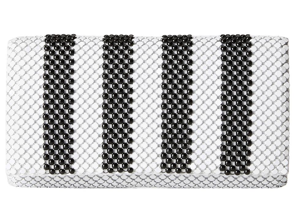 Jessica McClintock - Stripe Mesh Clutch (Black/White) Clutch Handbags