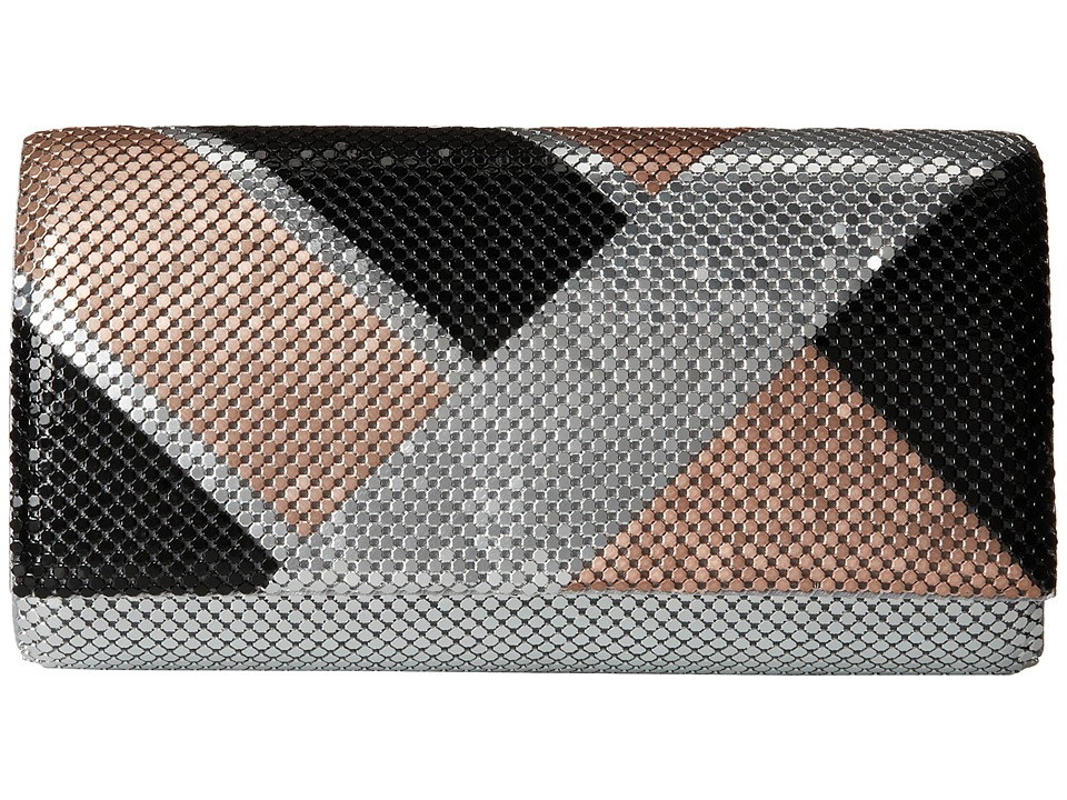 Jessica McClintock - Color Block Mesh Clutch (Silver) Clutch Handbags