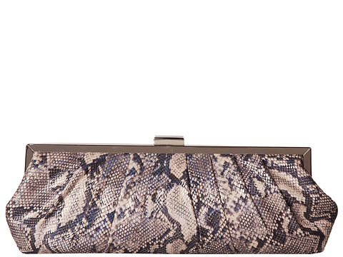 Jessica McClintock - Irridescent Snake Frame Clutch (Pewter) Clutch Handbags