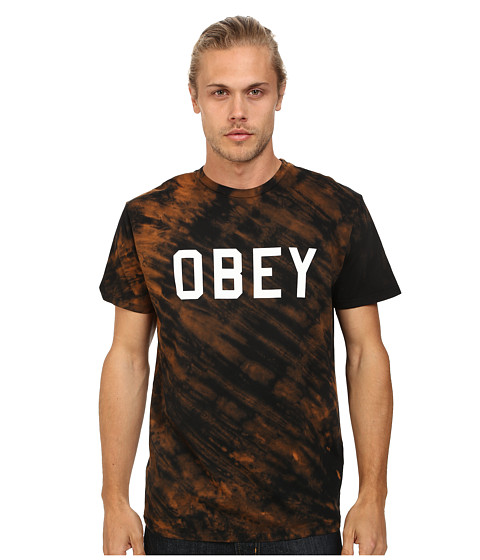 Obey - Tigey Beach Tie-Dye Tee (Black/Bleach) Men