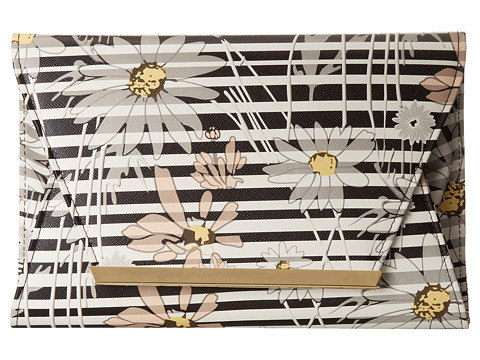 Jessica McClintock - Floral Stripe Envelope Clutch (Black) Clutch Handbags