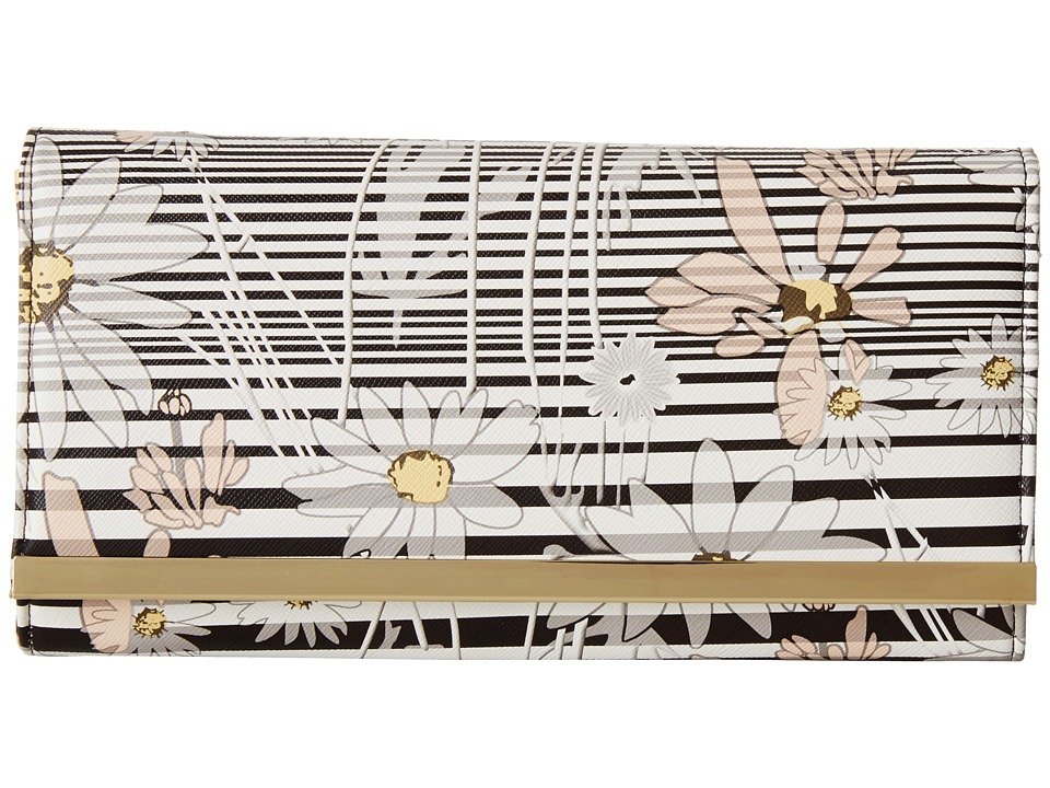 Jessica McClintock - Floral Stripe Bar Clutch (Black) Clutch Handbags
