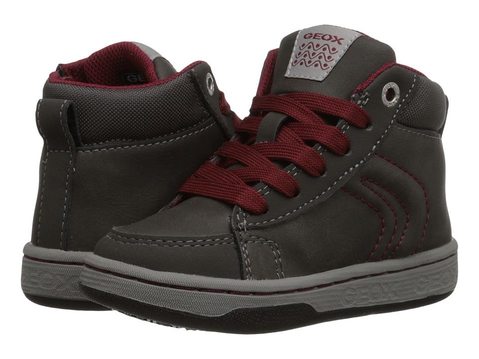 Geox Kids - Mania Boy 8 (Toddler/Little Kid) (Dark Grey/Bordeaux) Boy's Shoes