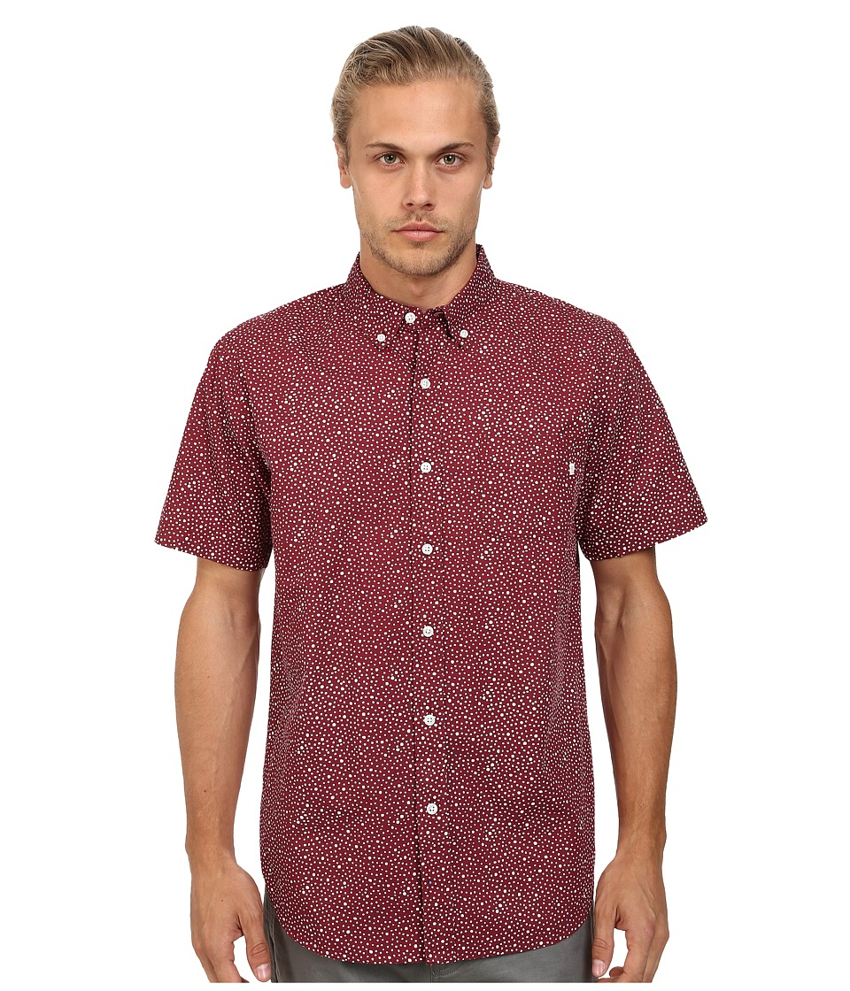 Obey - Journey Woven Short Sleeve (Burgundy Multi) Men's Clothing