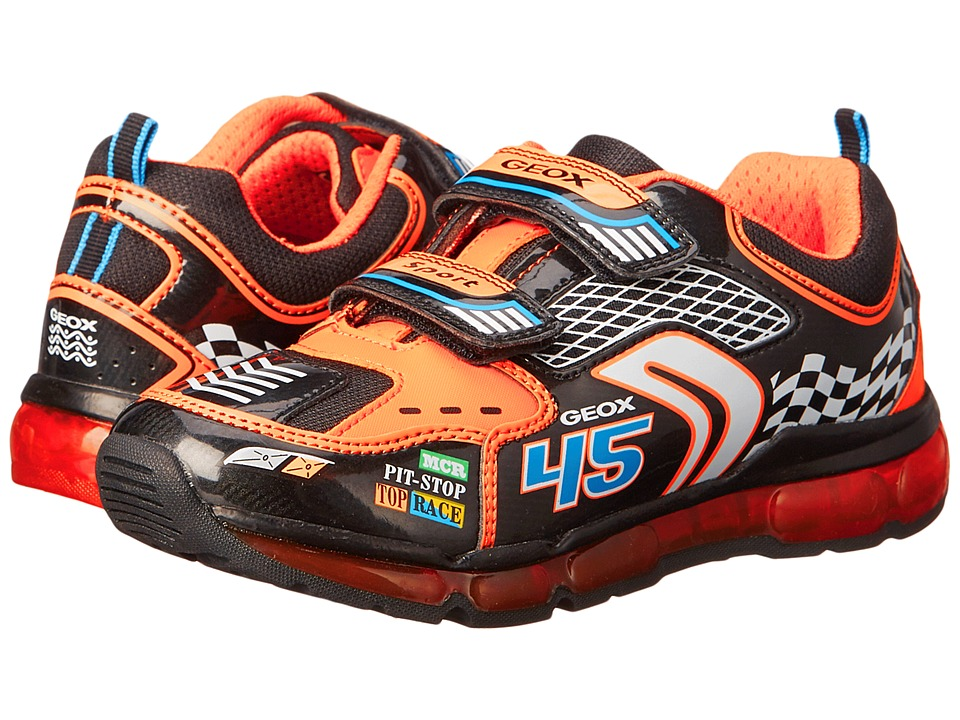 Geox Kids - Android Boy 2 (Little Kid/Big Kid) (Black/Orange) Boy's Shoes