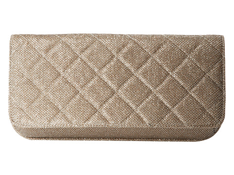Jessica McClintock - Quilted Metallic Lurex Clutch (Champagne) Clutch Handbags