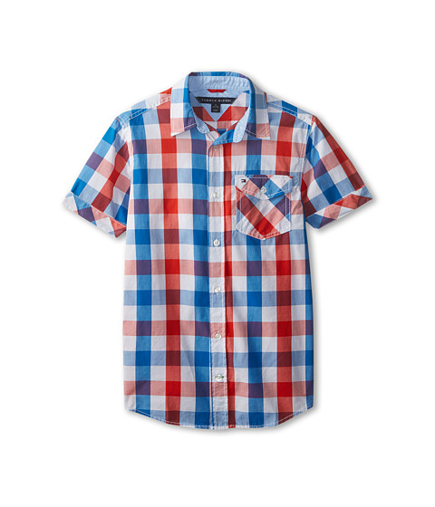 Tommy Hilfiger Kids - Short Sleeve Asher (Big Kids) (Laser Beam) Boy's Short Sleeve Button Up
