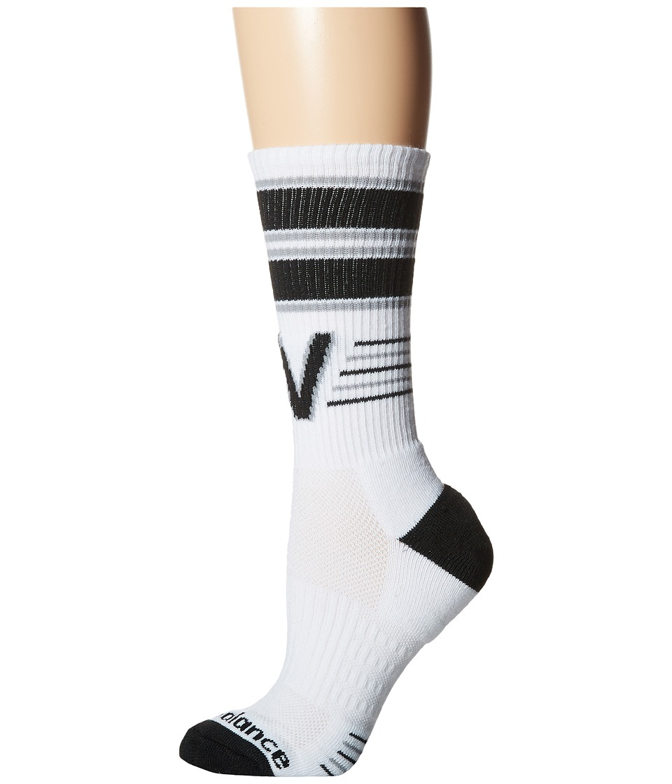 New Balance - Retro Crew 3-Pack (White/Black) Crew Cut Socks Shoes