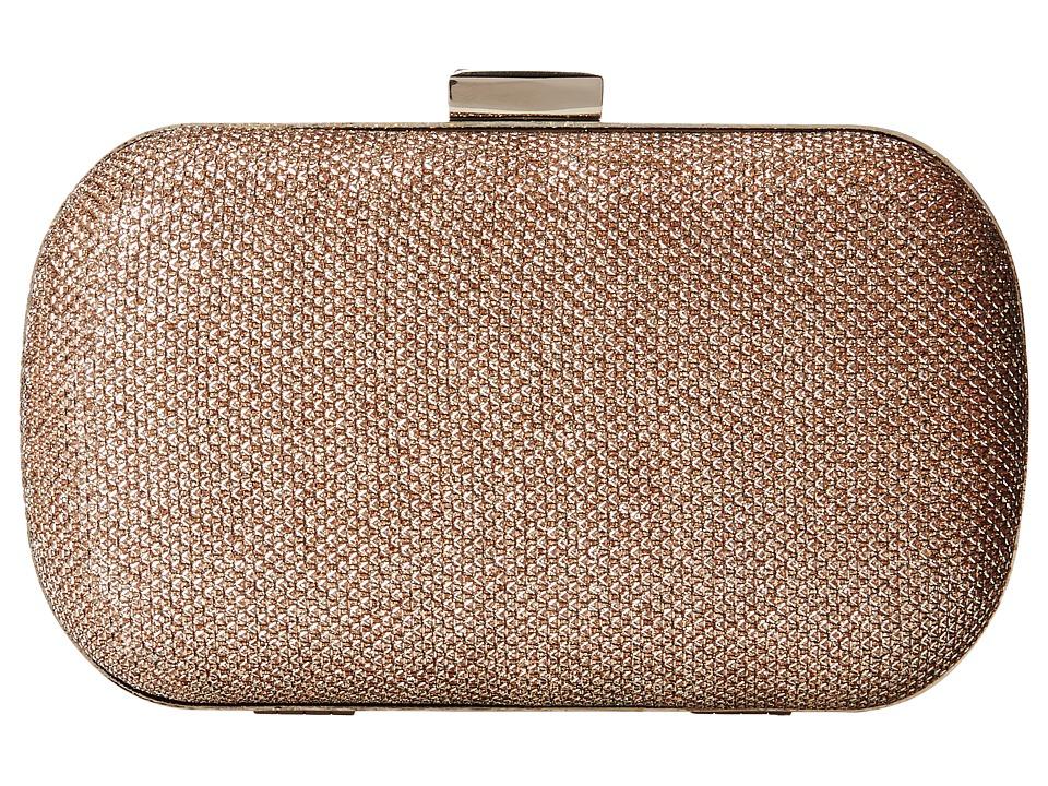 Jessica McClintock - Metallic Lurex Minaudier (Champagne) Handbags
