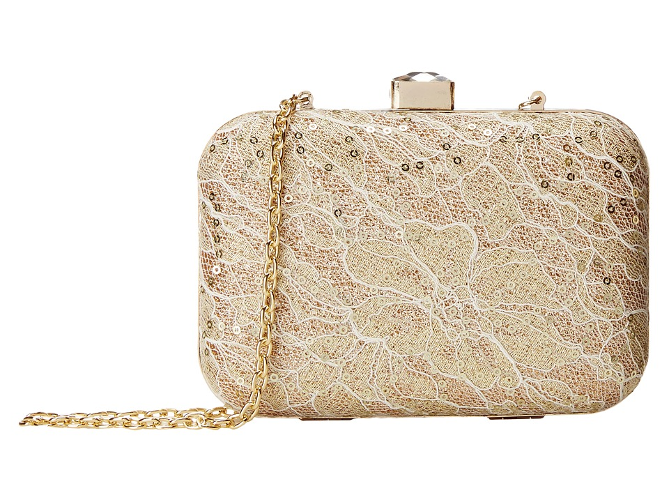 Jessica McClintock - Metallic Lace Minaudier (Blush) Handbags