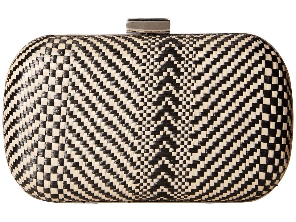 Jessica McClintock - Straw Minaudier (Black) Handbags